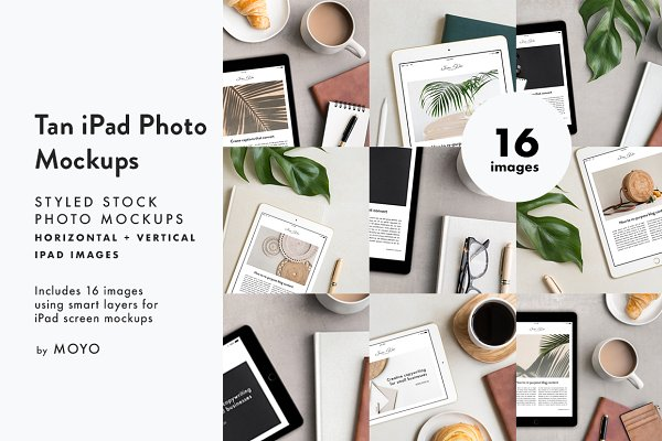 Mobile &amp&#x3B; Web Mockups: Moyo Studio - Tan iPad Photo Mockup Bundle