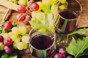 Wine background. Red wine in glasses