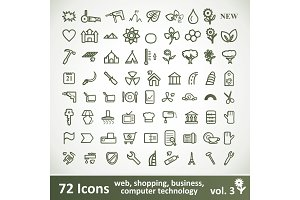 Green large Icons Set. Vector