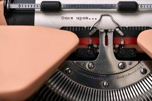 Vintage typewriter coral color in