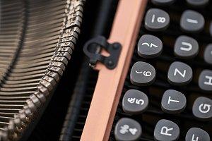 Retro typewriter in studio. Macro