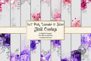 Pink Lavender and Silver Florals