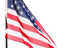American flag isolated on white back