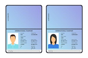 Male and Female Passports Set.