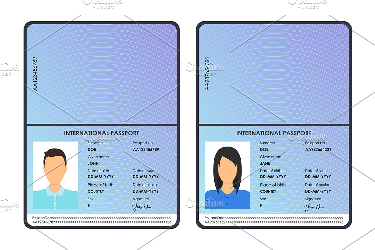 Male and Female Passports Set  ~ Graphic Objects ~ Creative