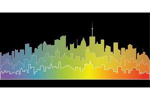 Rainbow city landscape.