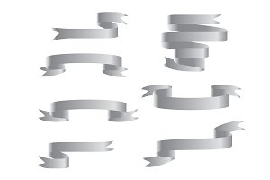 Silver ribbon banners set. Isolated
