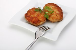 roasted cutlets on plate