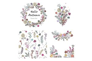 Doodle set with floral design
