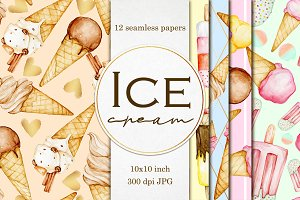 Ice cream seamless digital papers
