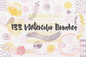 133 Watercolor Mix Brushes