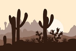Morning landscape with saguaro cacti