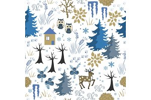 Awesome winter seamless pattern with