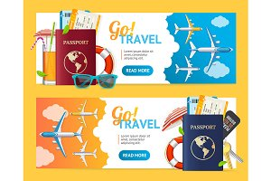 Go Travel Banner Horizontal Set