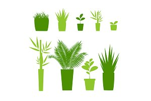 Green Silhouette Houseplant Pot Set
