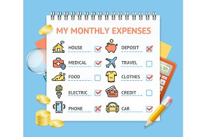 monthly expenses template vector icons creative market