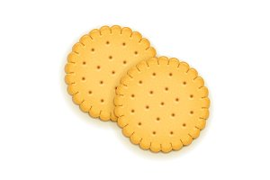 Two delicious round biscuit.