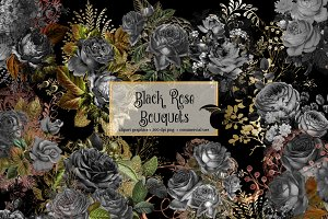 Black Rose Bouquets Clipart