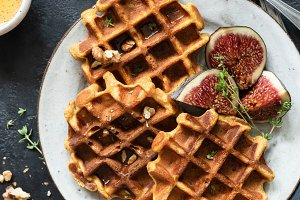 Belgian waffles and figs
