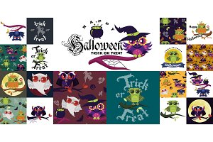 Happy Halloween flat colorful set