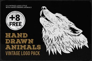 Hand Drawn Animals Vintage Logo Kit