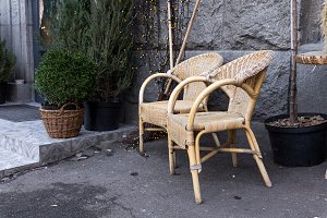 Armchairs made of straw. Rural chair