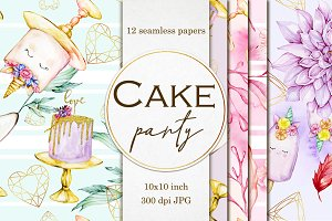 Cake party seamless paper