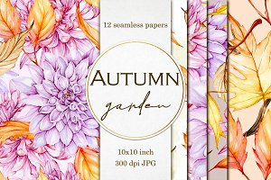 Autumn garden seamless papers