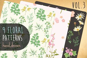 9 Floral Patterns Vol3