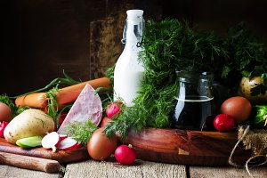 Ingredients for cold soup with veget
