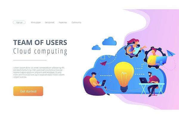 Cloud collaboration concept vector