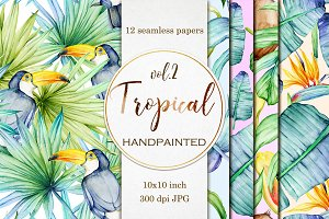 12 Tropical seamless digital papers