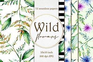 12 Wild flowers seamless papers