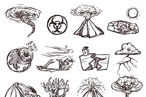 Natural disasters sketch icon set