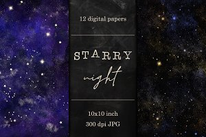 12 Night sky digital papers