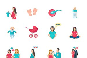Pregnancy and childbirth icons set