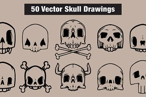 50 Vector Skull Drawings