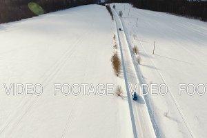 Car on winter road. Winter landscape