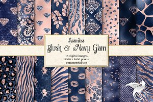 Blush and Navy Glam Digital Paper