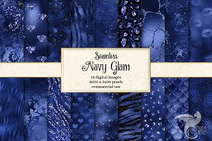 Navy Blue Glam Texture Patterns