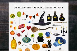 50 halloween watercolors