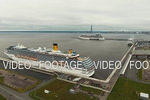 Ocean liner in seaport.