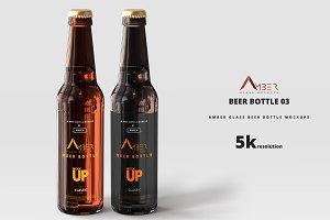 Amber Glass Beer Bottle Mockup 03