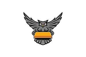 Owl Holding Banner Mascot