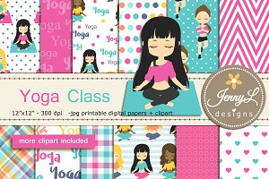 Yoga Digital Papers & Clipart