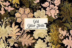 Gold Glitter Floral Clipart