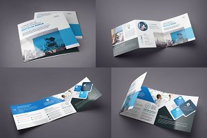 Blue Square Tri-Fold Brochure