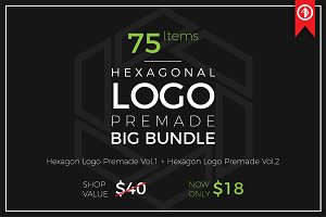 Hexagon Logo Premade, Big Bundle