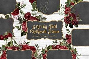 Burgundy Floral Chalkboard Frames