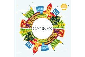 Cannes France City Skyline